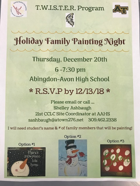 T.W.I.S.T.E.R. Holiday Family Painting Night