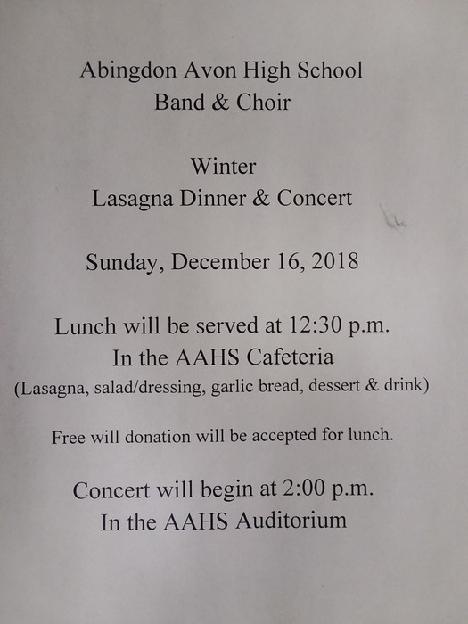 Band and Choir Lasagna Dinner and Concert