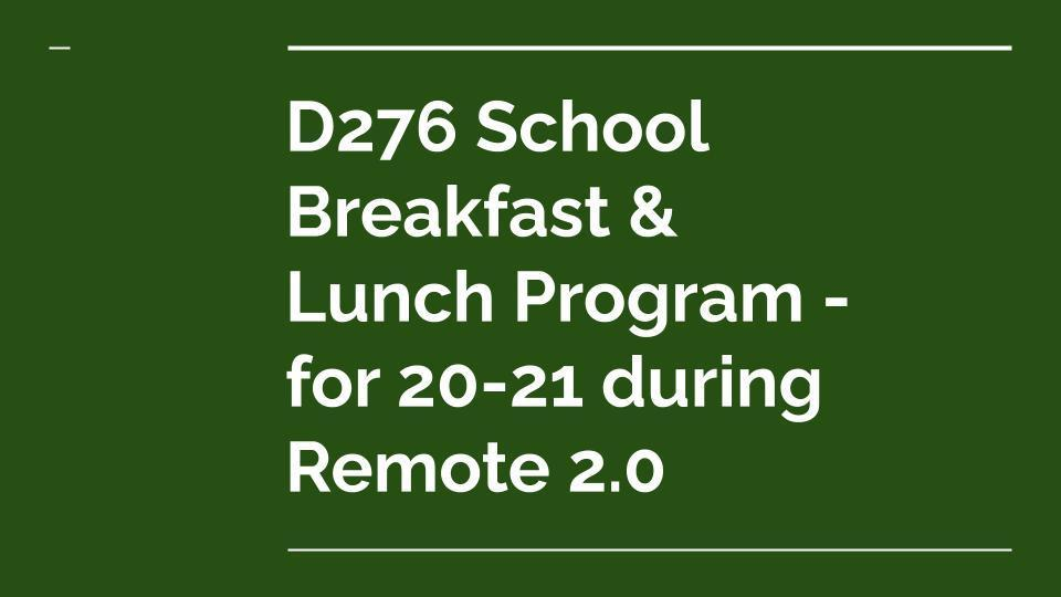 School Meals Available During Remote 2.0