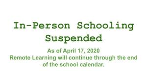 In-Person Schooling Suspended for the Rest of 2019-2020 School Year
