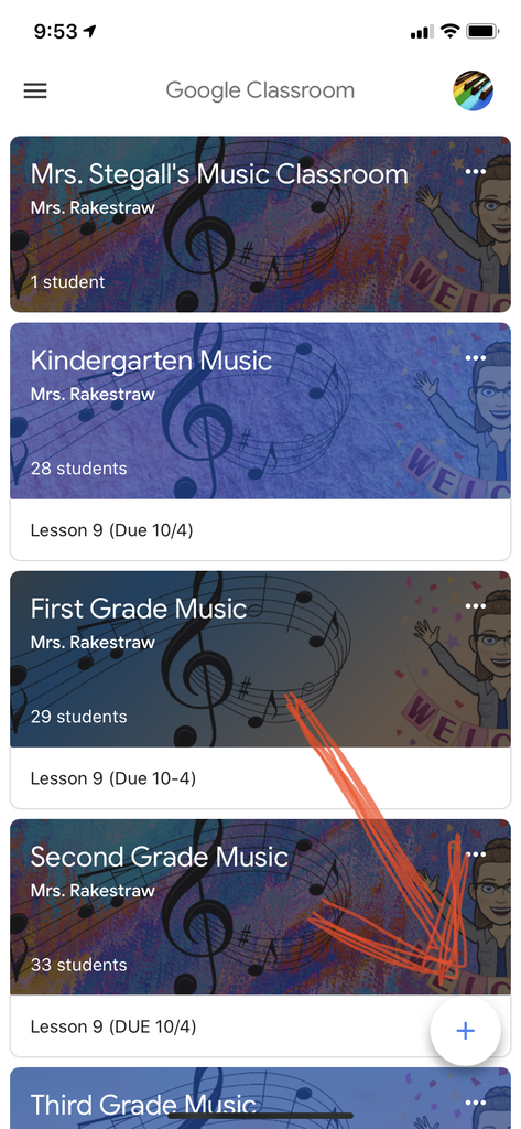 "1) Go to google classroom app , make sure you are on the main page, and click the ""+"""
