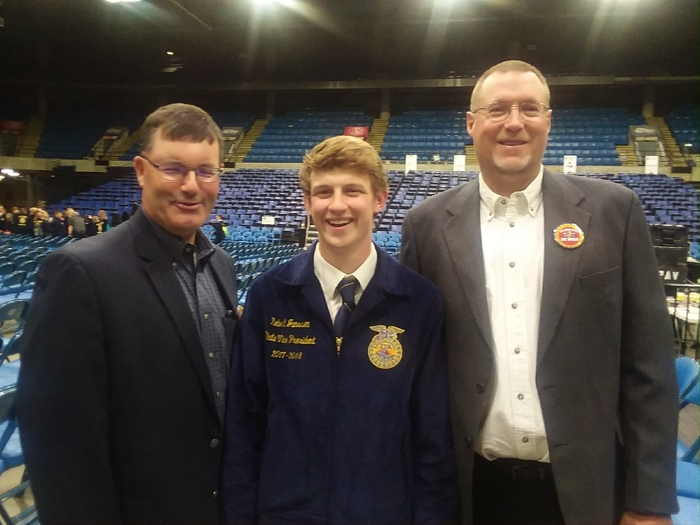 Mr. Seven, Robert Janssen, and Mr. Weedman at the State FFA convention