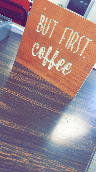 The awesome sign that Mr. Mink's class made for The Coffee Shop!