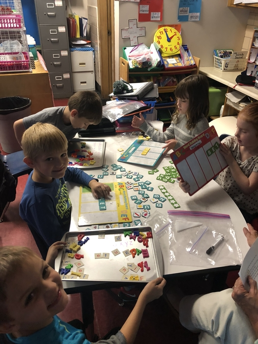 Building short e words during daily five.