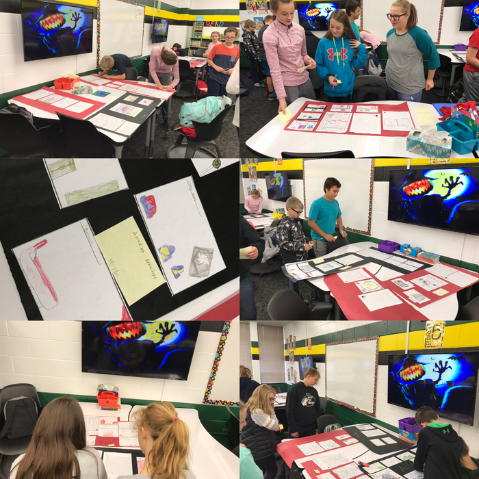 "Gallery Walk of peer projects. Students got descriptive about haunted houses they created and were trying to ""sell"" as a ""realtor""."