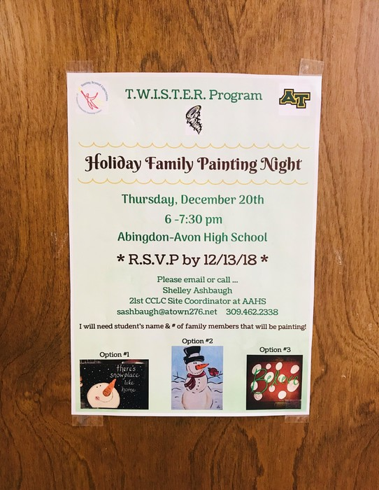 AAHS Holiday Family Painting Night