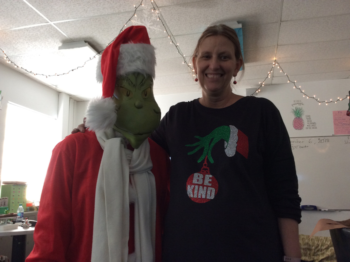 Mrs. A with the Grinch