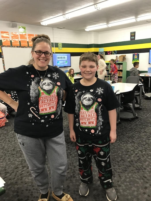 Twinning on Christmas Pajama day!