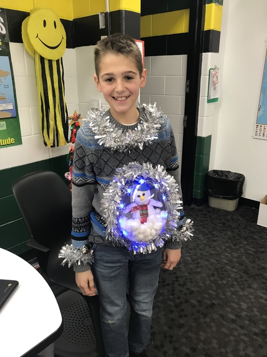 Ugly sweater??? I don't think so! Tyler Crandall made a great snow globe!!!!