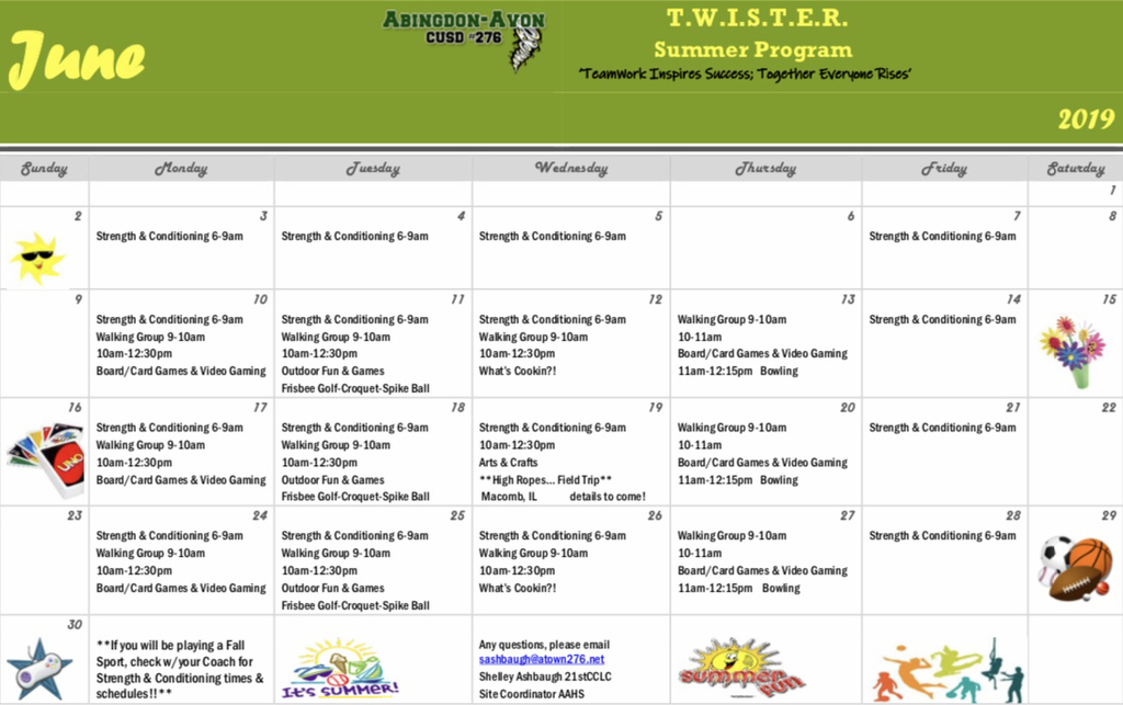 TWISTER Summer Program June Calendar