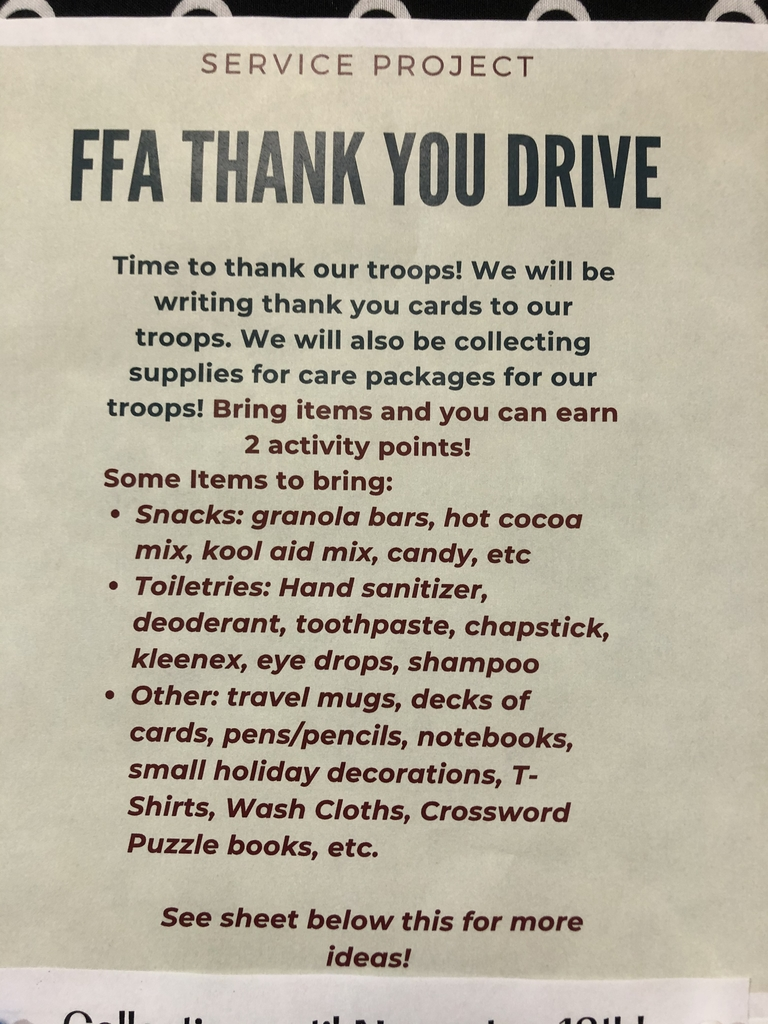 Bring items to support our Troops!