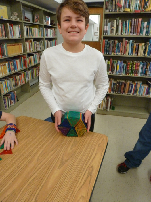 A.J. Myers and his Picasso Tile creation. 5th Graders were very creative in the MakerSpace inthe Library