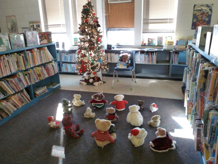 Mrs. M&M's bears listen to the story The Christmas Bear