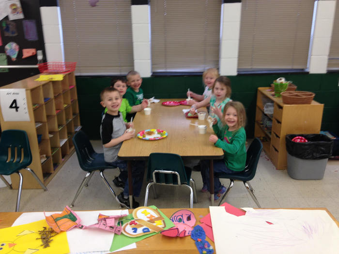 Pre-K enjoying ice cream for Pennies for Patients