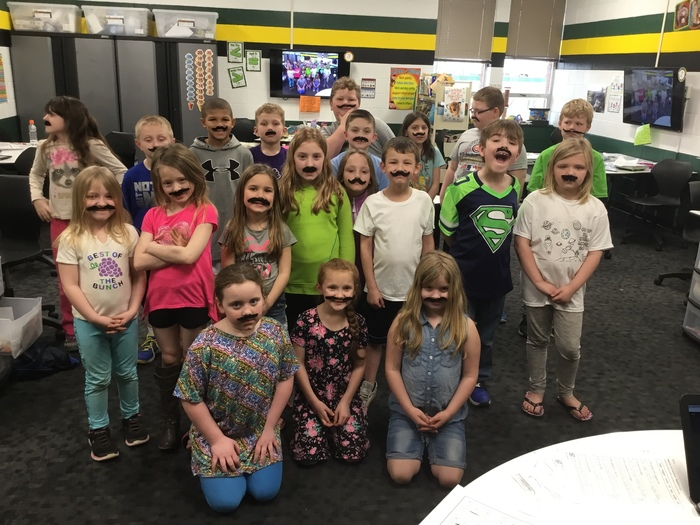 Avon Second Graders  ready for Mustache Math!